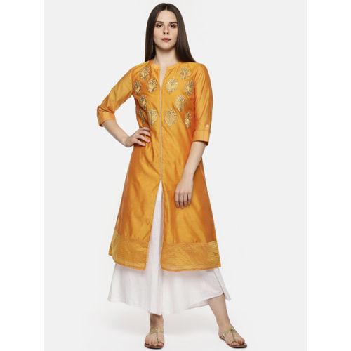 3e6d7a803 ... TRISHAA BY PANTALOONS Women Mustard Orange Embroidered A-Line Kurta ...