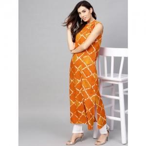 979b855fe54a8 Buy Ashwati Rayon Yellow Round Neck Jacket Style Kurti online ...