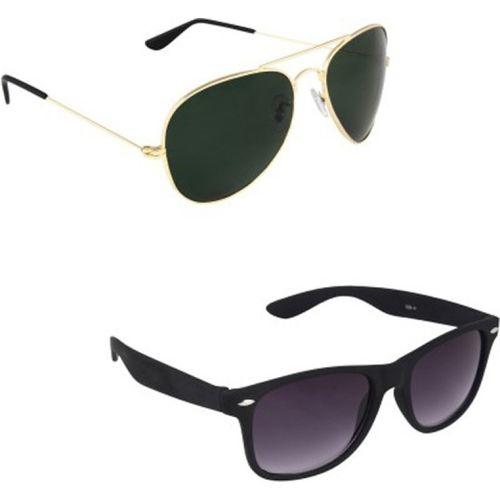 Barbarik Aviator, Wayfarer Sunglasses(Green, Violet)