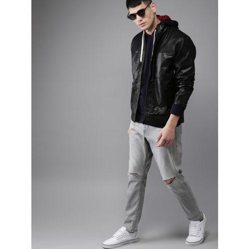 Moda Rapido Men Black Solid Biker Jacket