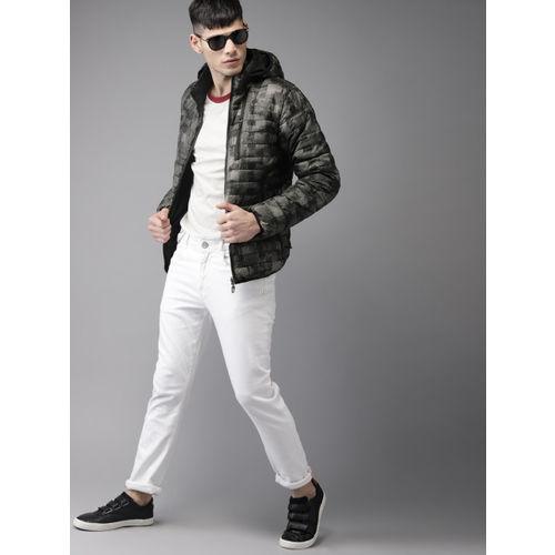 Moda Rapido Men Black Printed Detachable Hood Reversible Puffer Jacket