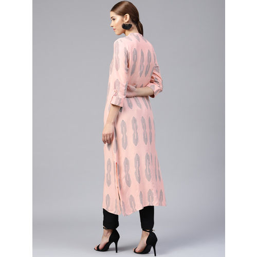 W Women Peach-Coloured & Charcoal Printed Straight Kurta