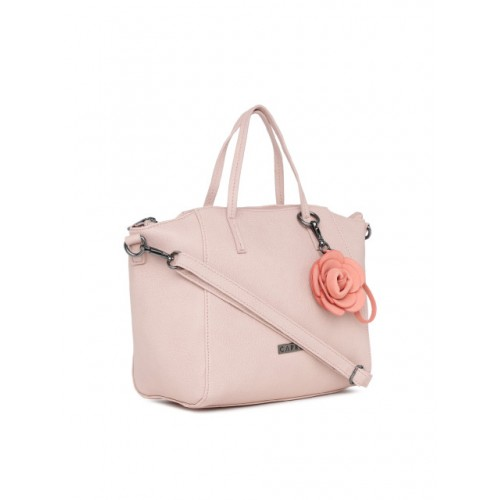 Caprese Peach-Coloured Polyurethane Solid Handheld Bag
