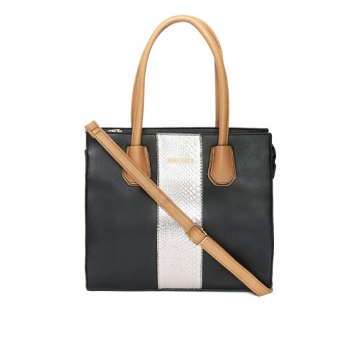 Addons Black & Silver-Toned Colourblocked Shoulder Bag