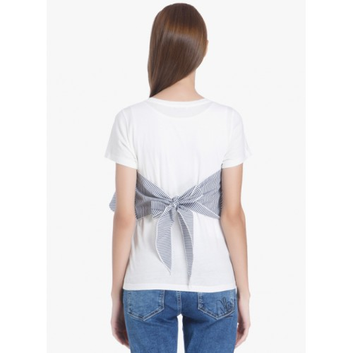 ONLY White Cotton Slim Fit Casual Striped T Shirt