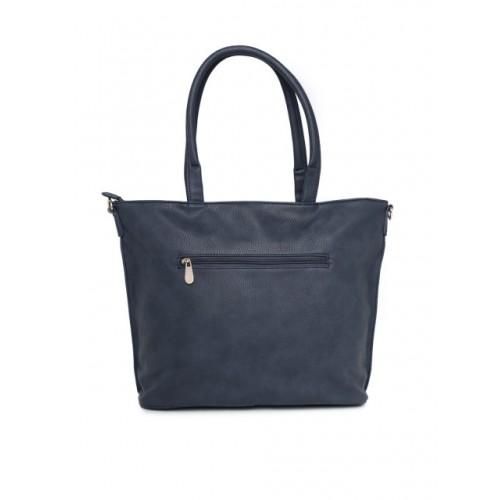 Caprese Navy Blue Polyurethane Solid Shoulder Bag