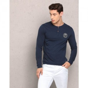Metronaut Solid Men Henley Dark Blue T-Shirt