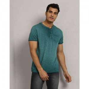 Metronaut Solid Men's Henley Green T-Shirt