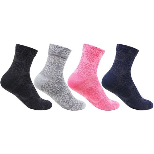 Bonjour Multi Colour Cotton Lycra Blend Ankle Length(Pack of 4)