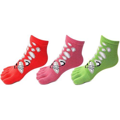 Bonjour Multicolour Women's Ankle Length Socks(Pack Of 3)