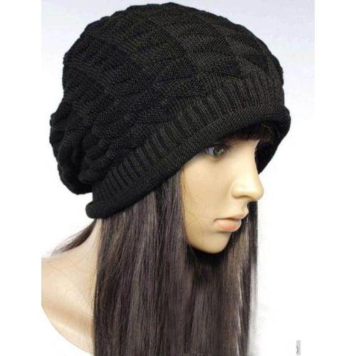 R.D RedDiamond Black Slouchy woolen Long Beanie Cap for Winter skull head Unisex Cap