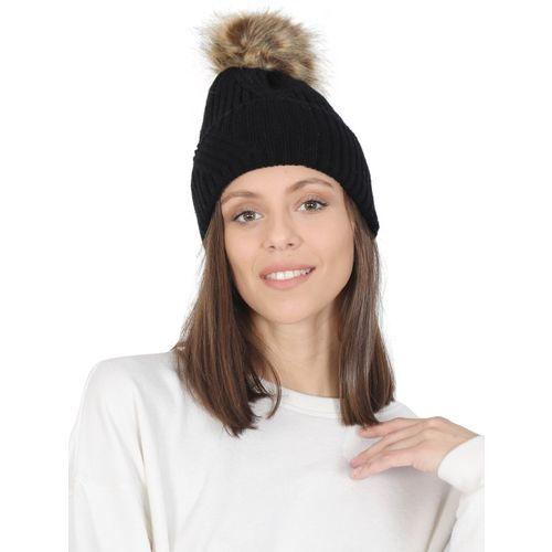 02d608e5975 Buy FabSeasons Self Design Acrylic Woolen Winter skull cap with faux fur  lining   Pom Pom for Girls   Women Cap online