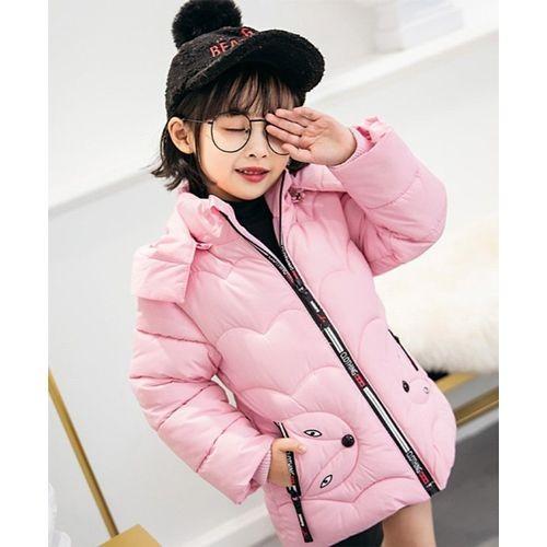 Awabox Light Pink Full Sleeves Cat Theme Hooded Jacket
