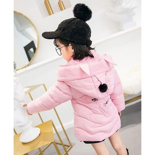 Awabox Light Pink Full Sleeves Cat Theme Hooded Jacket