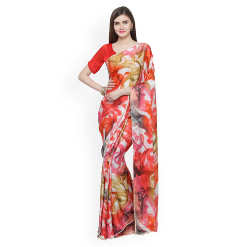 Shaily Red & Pink Satin Printed Saree