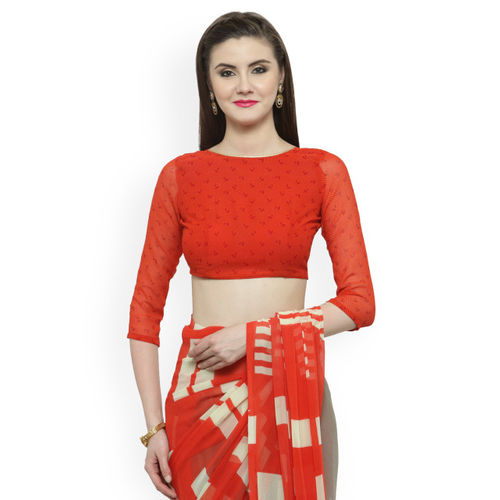 Shaily Red & Grey Pure Georgette Printed Saree