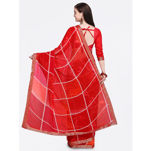 Shaily Red & White Pure Georgette Printed Saree