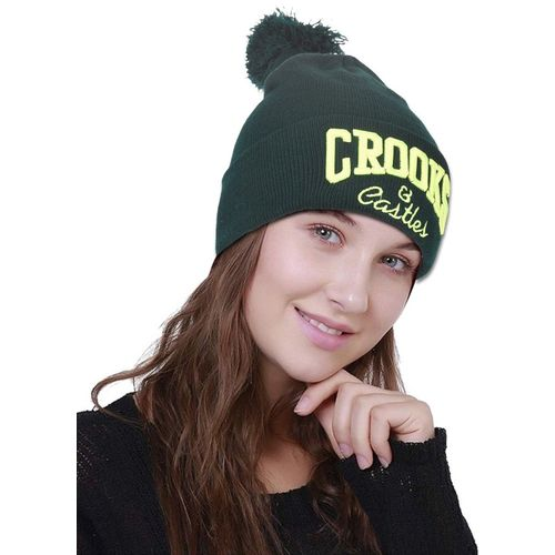 DRUNKEN Embroidered Men's Winter Cap Woolen Skull Beanie Cap with Pom Pom Green Freesize Warm Cap