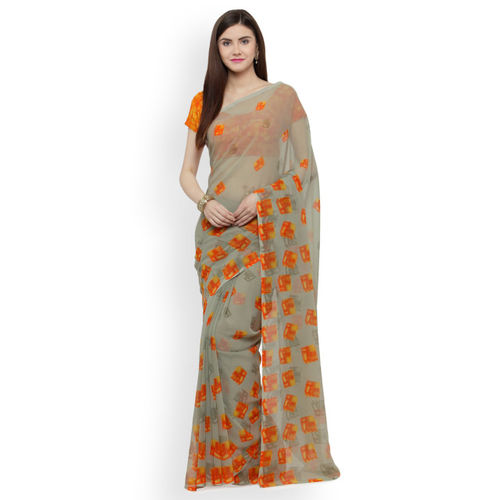 Shaily Pista Green Printed Pure Georgette Saree