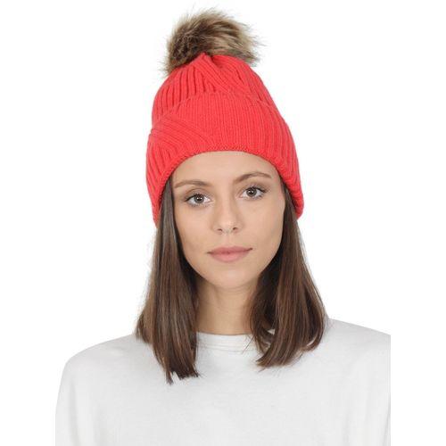 FabSeasons Self Design Acrylic Woolen Winter skull cap with faux fur lining & Pom Pom for Girls & Women Cap