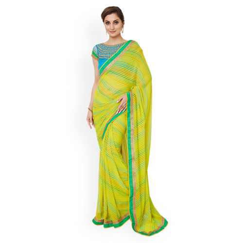 Shaily Yellow & Blue Pure Georgette Embroidered Saree