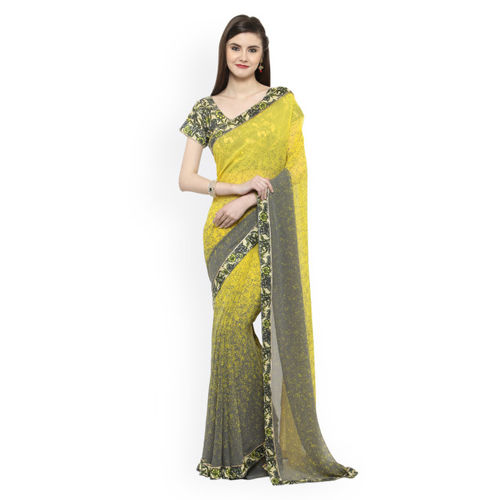 Shaily Yellow & Grey Printed Georgette Saree