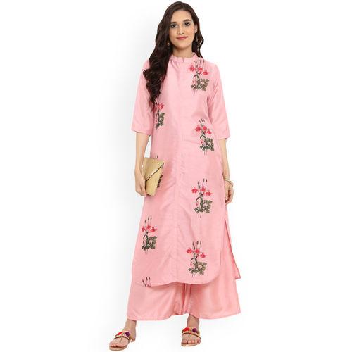 ZIYAA Women Pink Printed Kurta with Palazzos