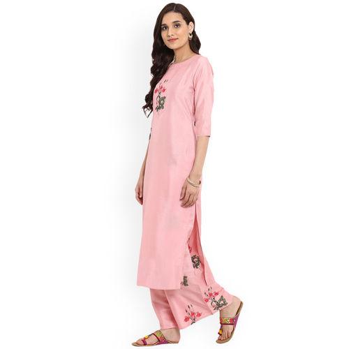 Ziyaa Pink Polyester Floral Print Straight Kurta