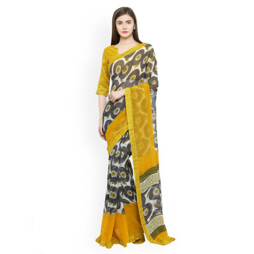 Shaily Black & Yellow Pure Georgette Printed Saree