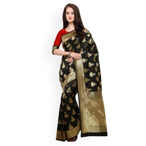 4496a789edfe2e Buy Shaily Black Pure Silk Woven Design Banarasi Saree online ...