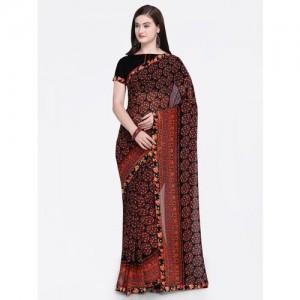 Shaily Black & Brown Pure Georgette Printed Saree