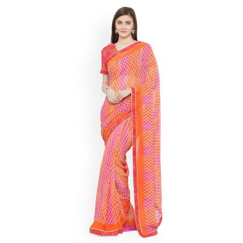 f636c79dfa0 Buy Shaily Orange   Pink Pure Georgette Printed Saree online ...