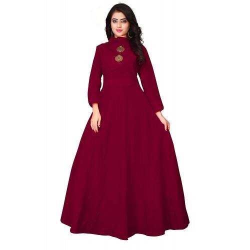 Leriya Fashion Maroon Cotton Solid Gown