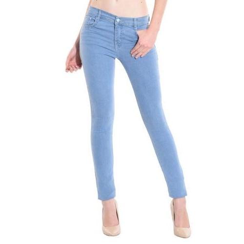 Las Women S Ice Blue Color Slim Fit Jeans