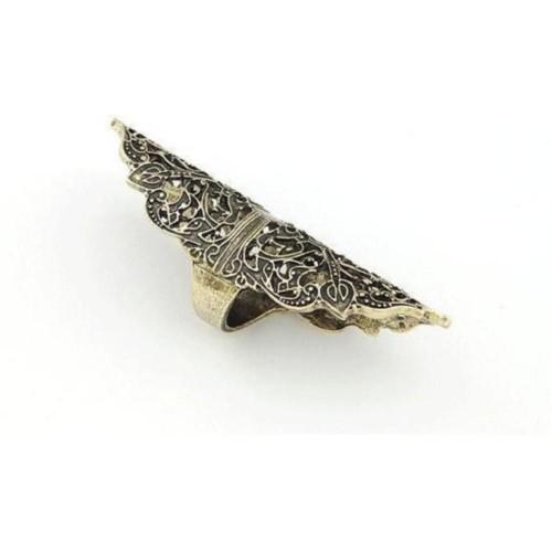Cinderella Collection By Shining Diva Black & Golden Full Finger Alloy Ring