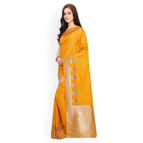 Shaily Orange Pure Silk Printed Banarasi Saree