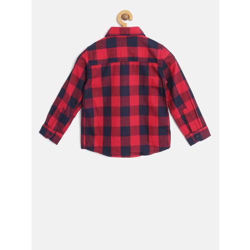 Pepe Jeans Boys Red & Navy Blue Regular Fit Checked Casual Shirt