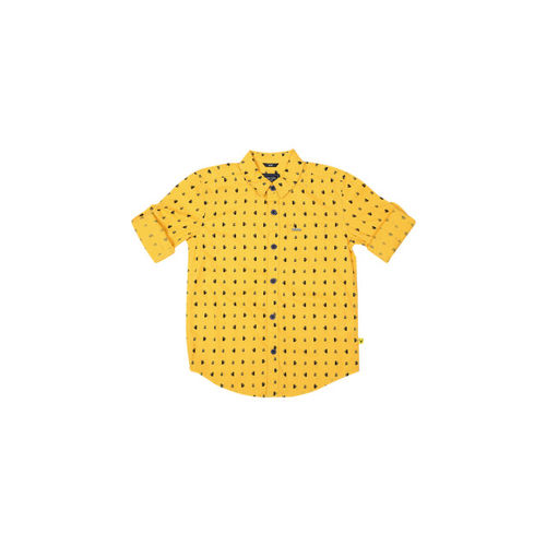 e25ad88f4 ... Allen Solly Junior Boys Yellow & Black Printed Casual Shirt ...