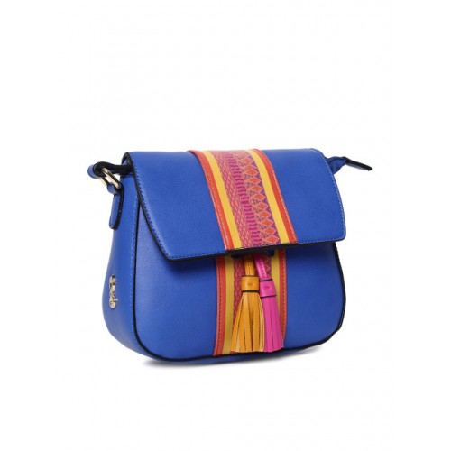 Global Desi Blue & Mustard Printed Sling Bag