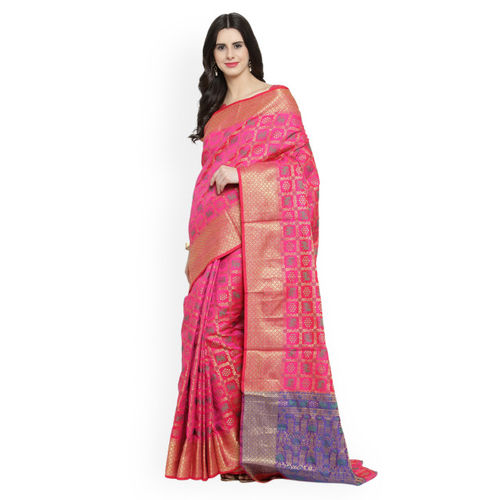 Shaily Pink Pure Silk Woven Design Patola Saree