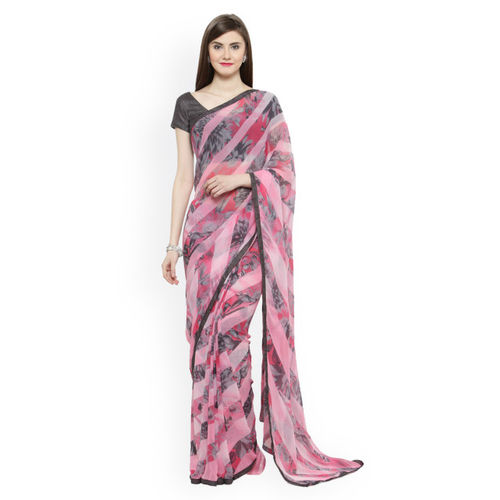 Shaily Pink & Grey Printed Georgette Saree