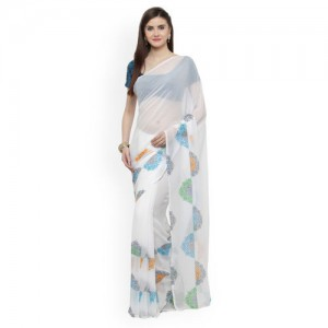 Shaily White & Blue Georgette Solid Saree