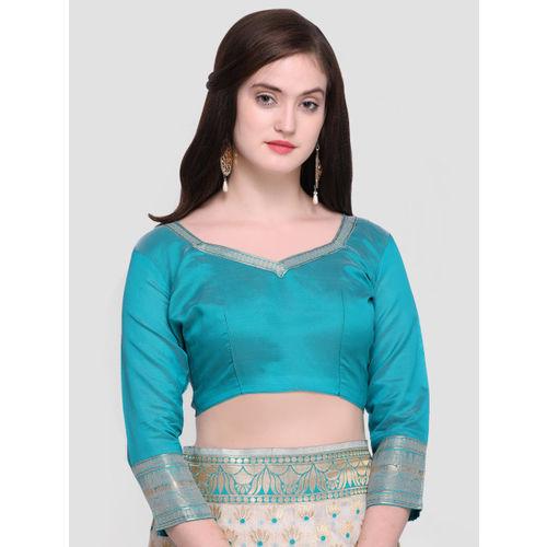Shaily Off-White & Turquoise Blue Pure Silk Woven Design Kanjeevaram Saree