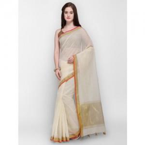 Shaily Off-White & Gold-Coloured Silk Cotton Woven Design Banarasi Saree