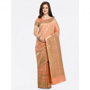 dce1e2d3deb7b Shaily Peach-Coloured   Gold-Toned Pure Silk Woven Design Banarasi Saree