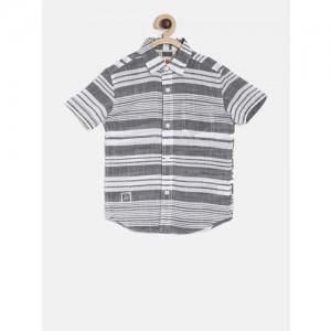 UFO Boys Grey & White Regular Fit Striped Casual Shirt