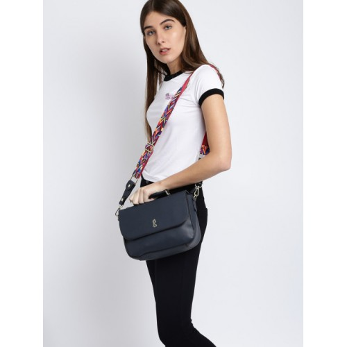 Global Desi Black Polyurethane Solid Sling Bag