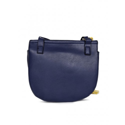 Global Desi Navy Blue Polyurethane Solid Sling Bag