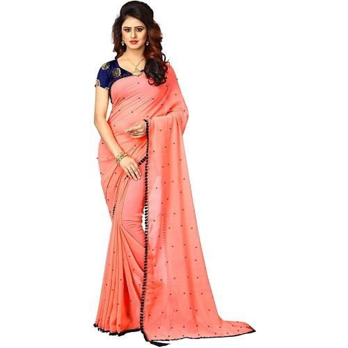 Dharmi Enterpris Light Orange Georgette Lace and Moti Work Saree with Blouse
