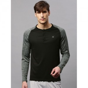 HRX by Hrithik Roshan Black Solid Henley Neck Active T-Shirt